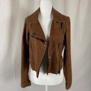 Blank NYC studded faux leather moto jacket